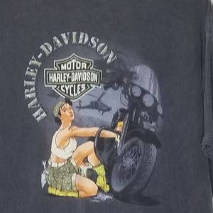 Harley- Davidson》 Pin-Up Graphic Acid Wash Gray